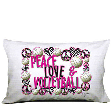 PEACE LOVE VOLLEYBALL PILLOWCASE