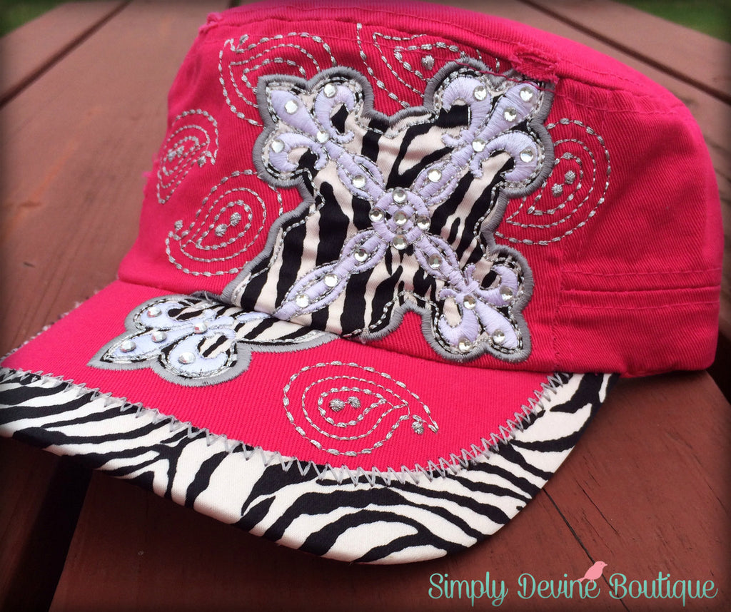PINK ZEBRA CROSS BLING HAT