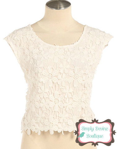 FLORAL CROCHET OVERLAY CHIFFON TOP IN WHITE