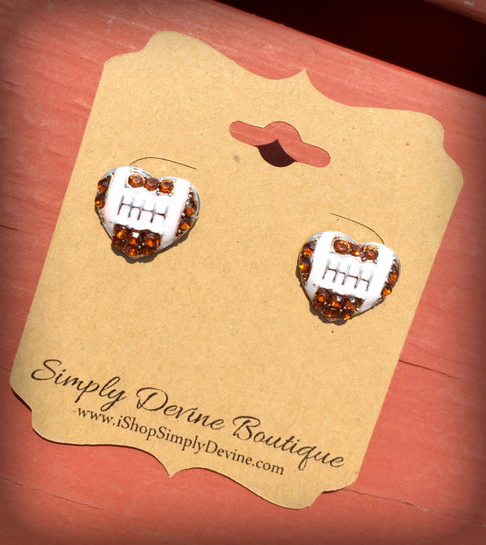 FOOTBALL HEART STUD EARRINGS