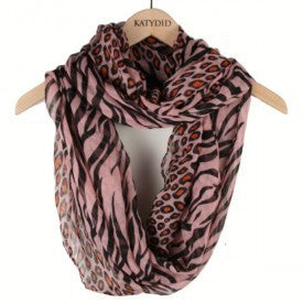 WILD CHILD LEOPARD/ZEBRA PRINT SCARF IN PINK