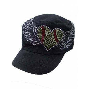 SOFTBALL HEART WITH WINGS RHINESTONE BASEBALL CAP