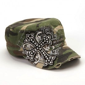 RHINESTONE CROSS CADET HAT (Available in Black or Camo)