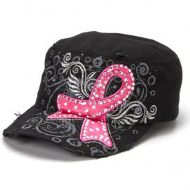 PINK RIBBON BREAST CANCER AWARENESS HAT (Available in White or Black)