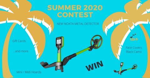 Contest announcement displaying two green Nokta Mini Hoard metal detectors and more.