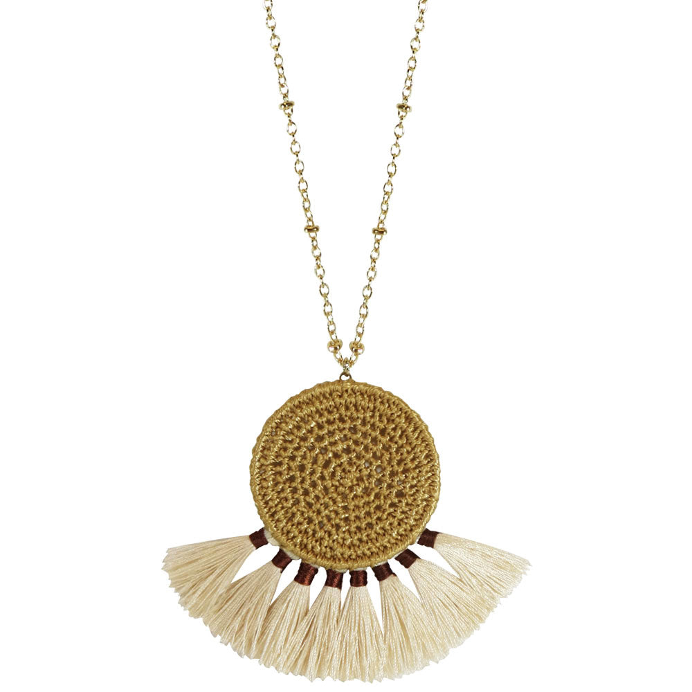 Boho Cream Tassel Necklace - Modish Boutique