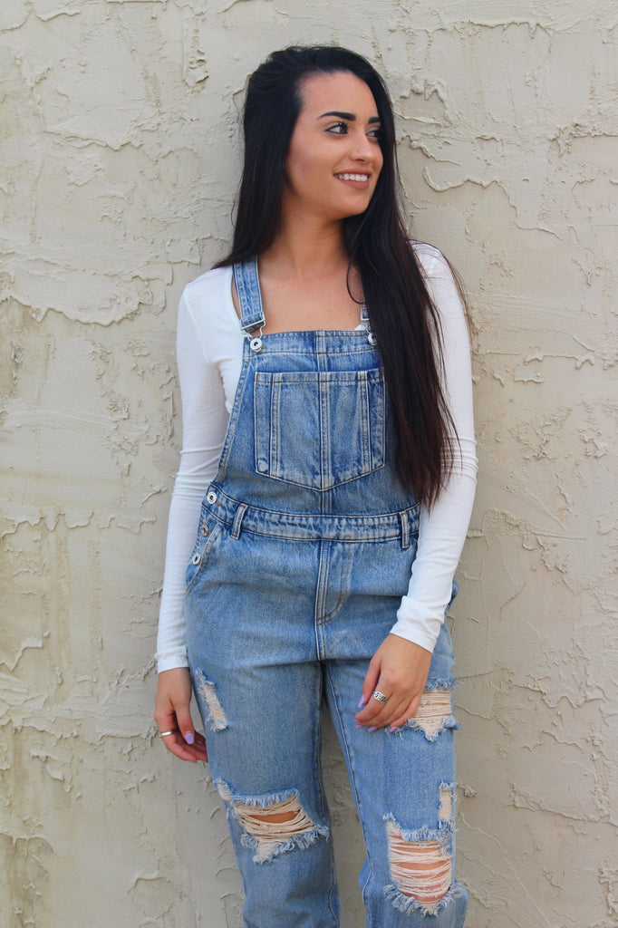 Tenley Overall in Distressed Denim - Modish Boutique