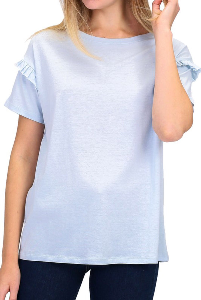 Ruffle Sleeve Tee - Modish Boutique