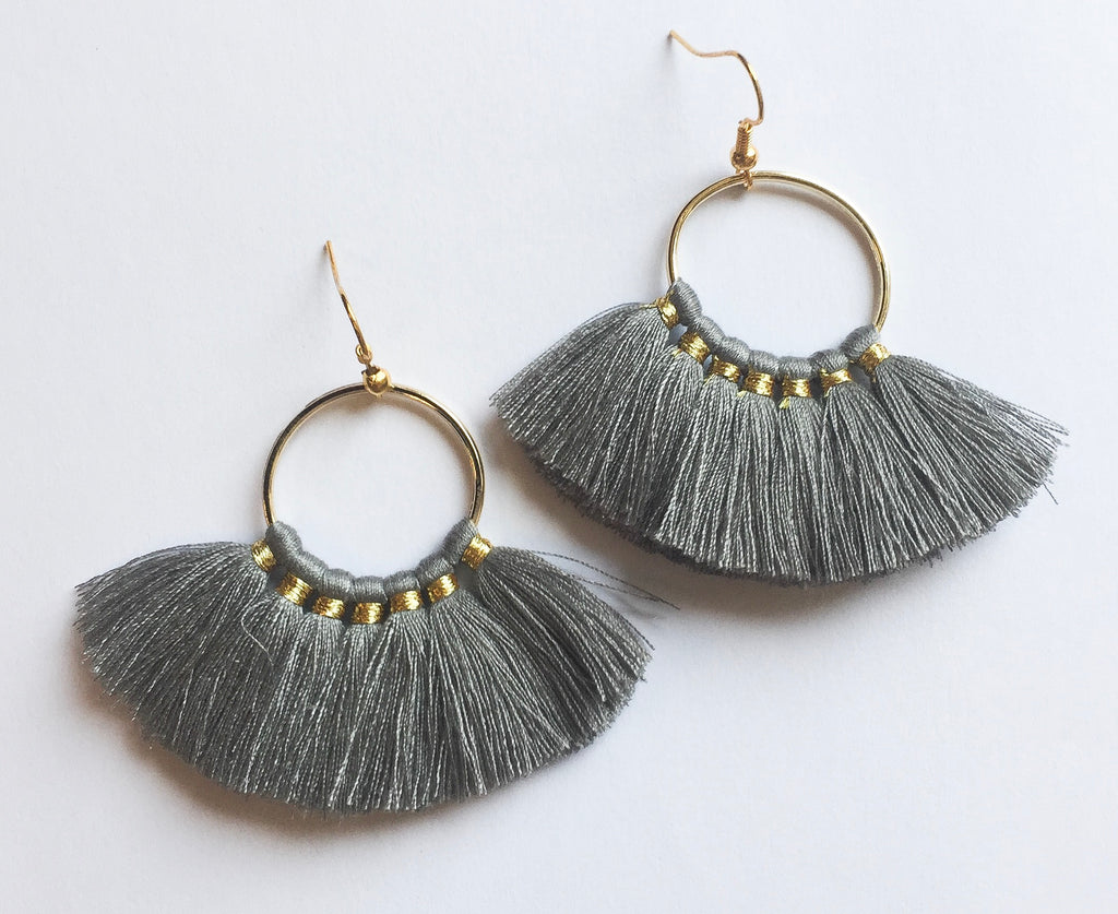 Grey Tassel Earrings - Modish Boutique