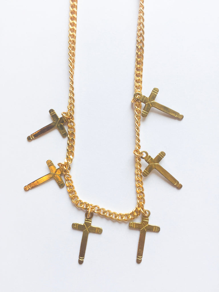 Gold Cross Choker - Modish Boutique