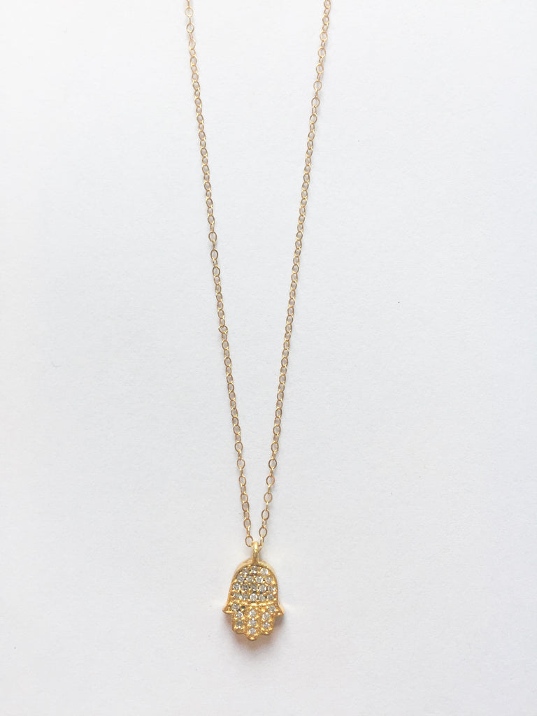 Gold Diamond Hand Necklace - Modish Boutique
