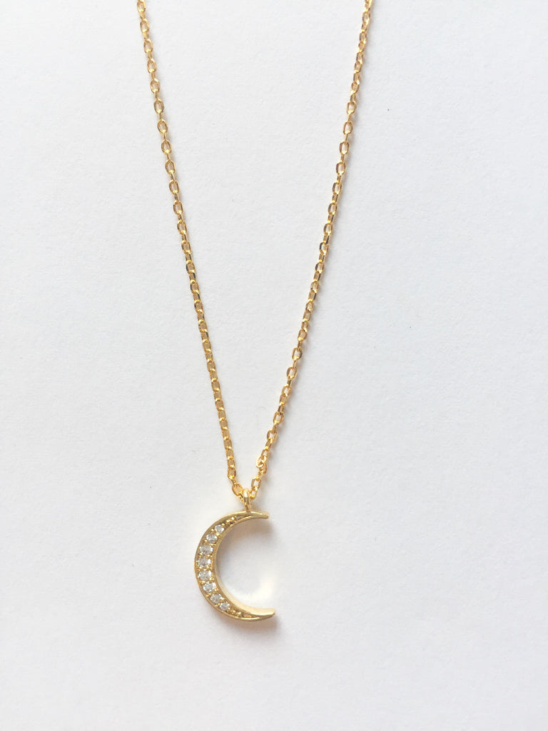 Gold Diamond Moon Necklace - Modish Boutique