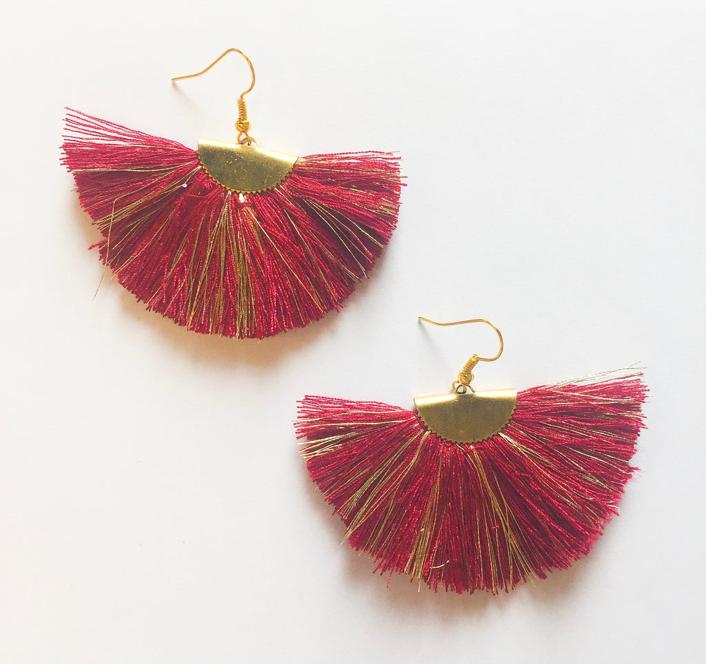 Burgundy Fan Earrings - Modish Boutique