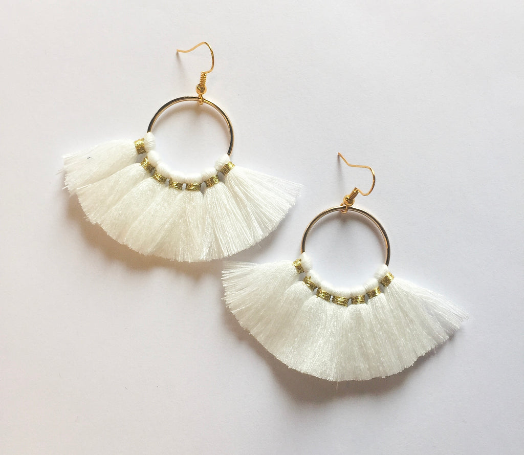 White Circle Tassels - Modish Boutique