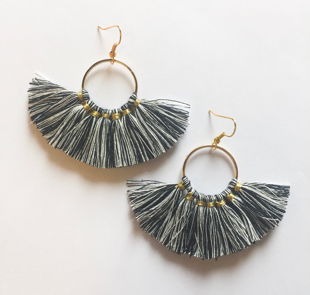 Black/White Circle Tassels - Modish Boutique