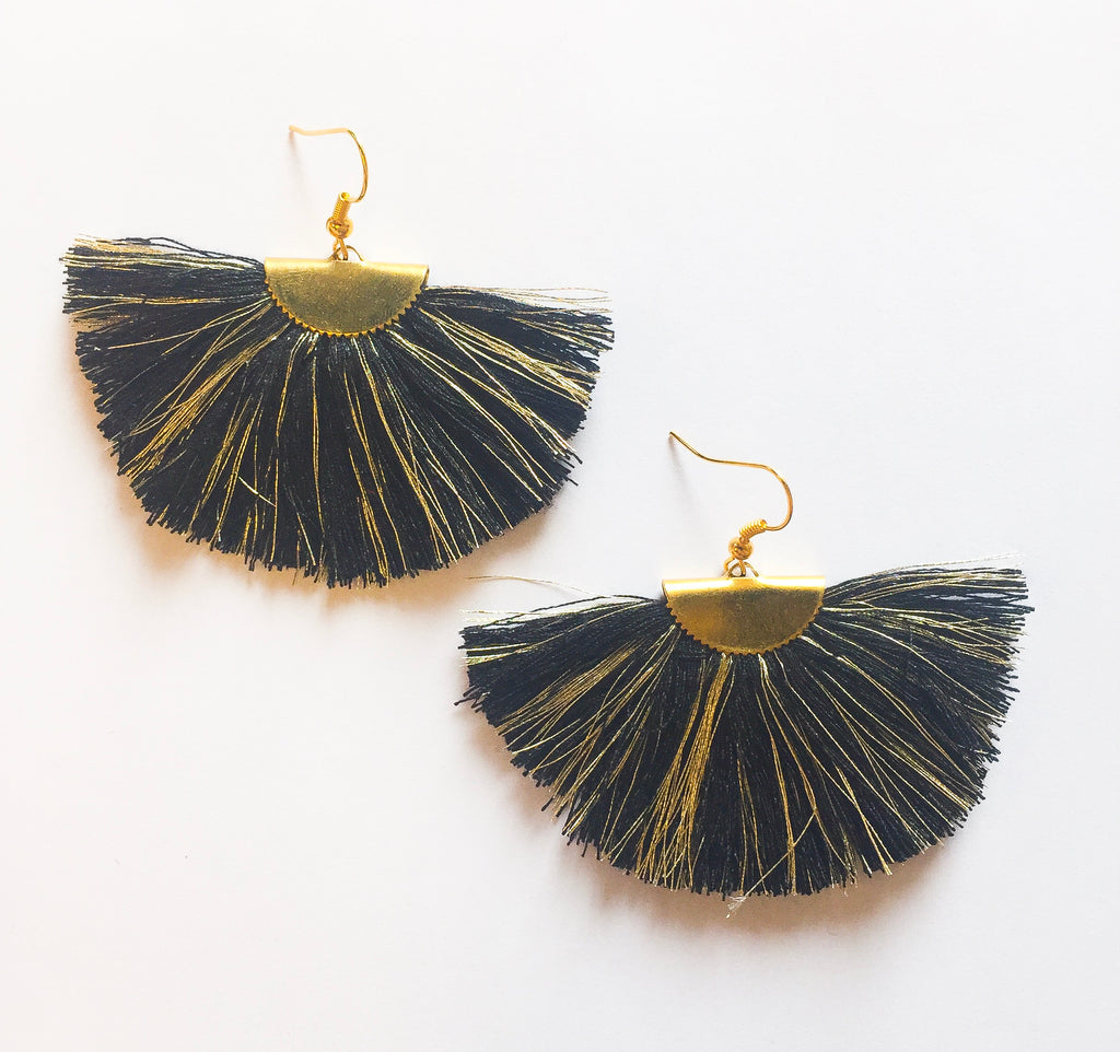Black/Gold Fan Earrings - Modish Boutique