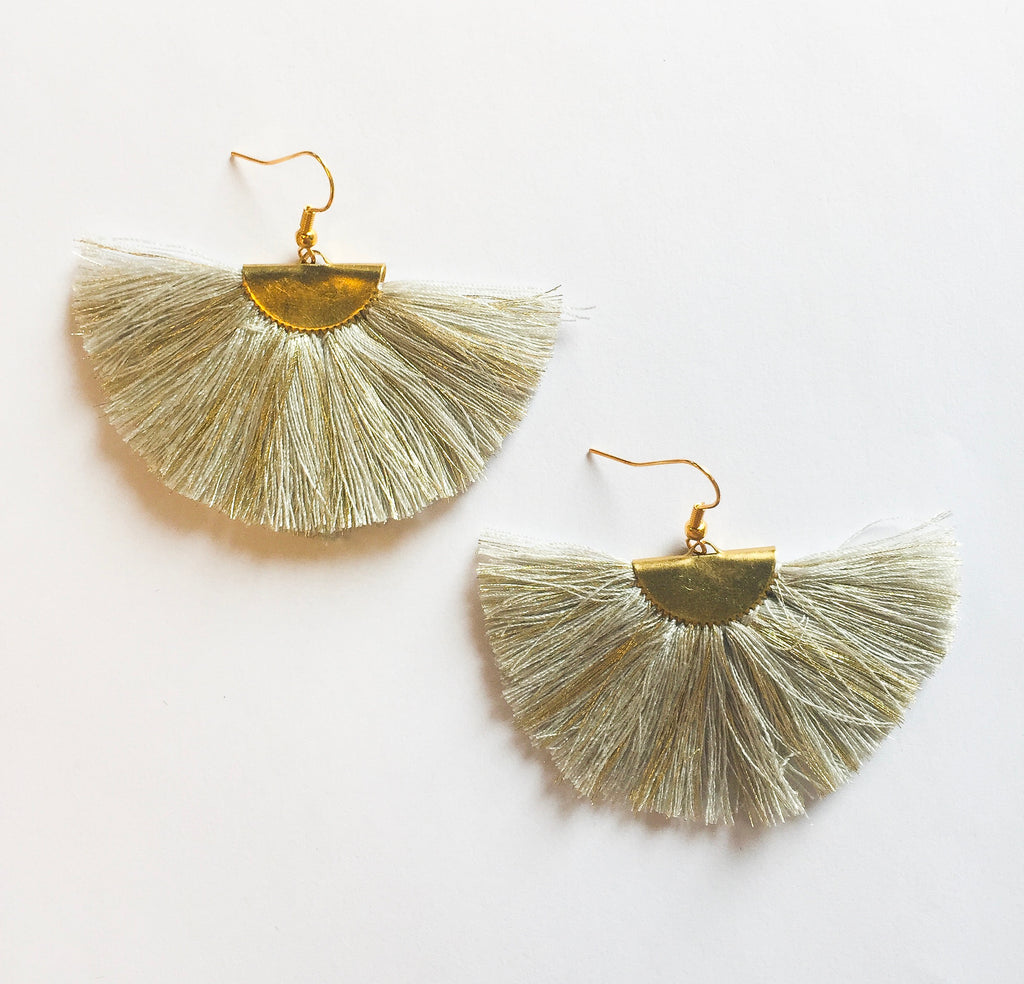 Tan Fan Earrings - Modish Boutique