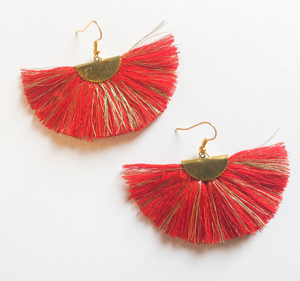 Red Fan Earrings - Modish Boutique