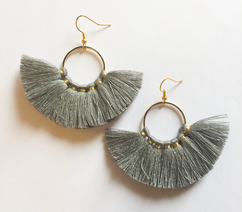 Grey Circle Tassels - Modish Boutique