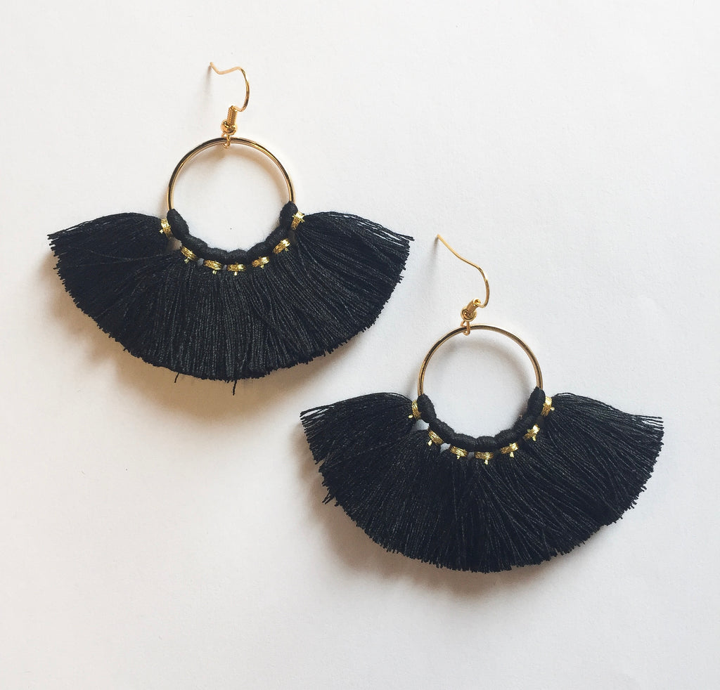 Black Circle Tassels - Modish Boutique
