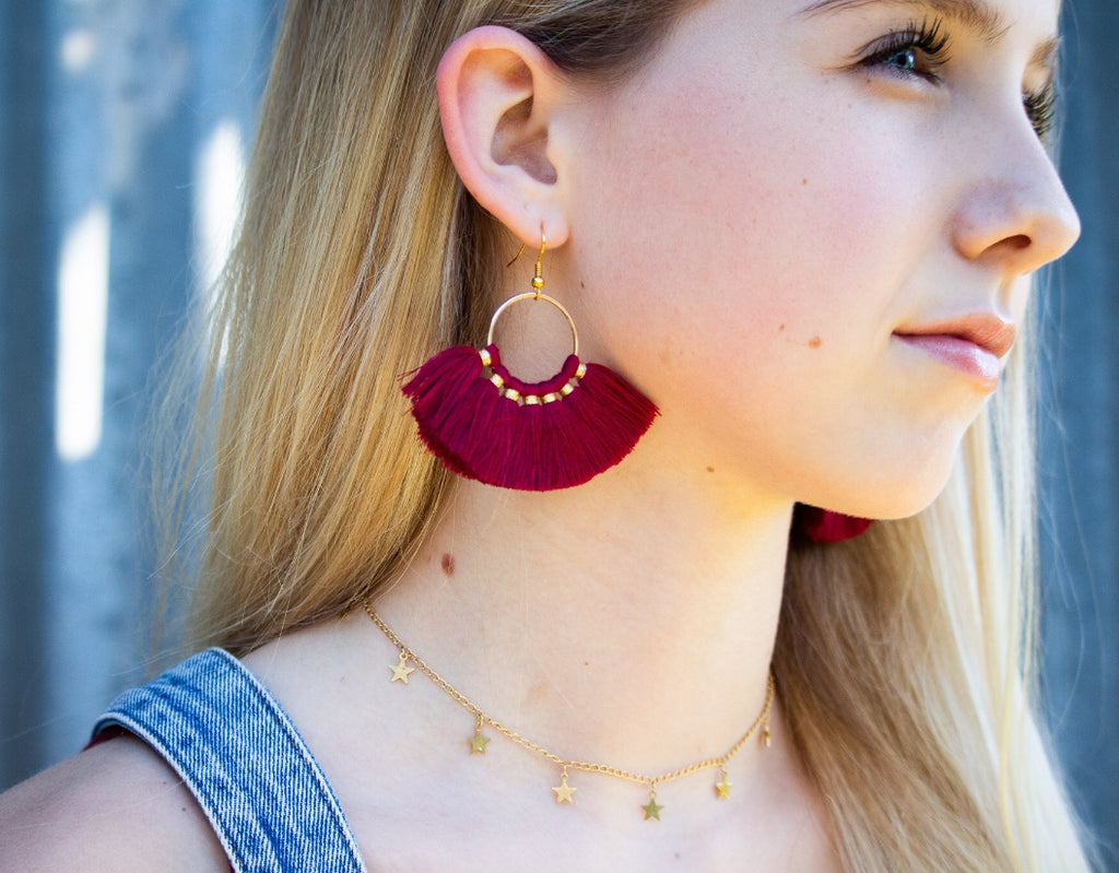 Garnet and Gold Tassel Earrings - Modish Boutique