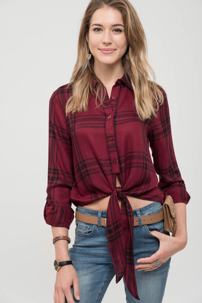 Front Tie Plaid Top - Modish Boutique
