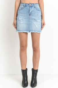 Light wash denim skirt - Modish Boutique