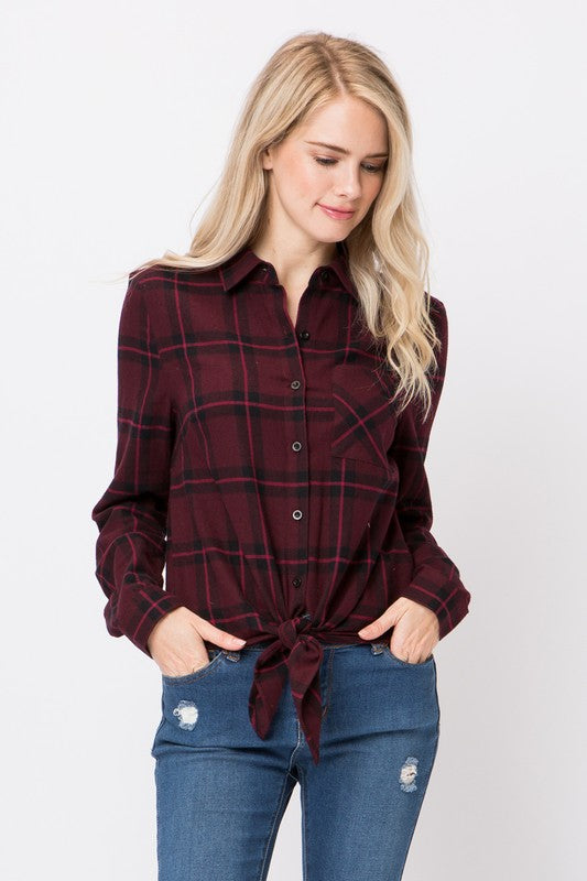 Burgundy Flannel - Modish Boutique