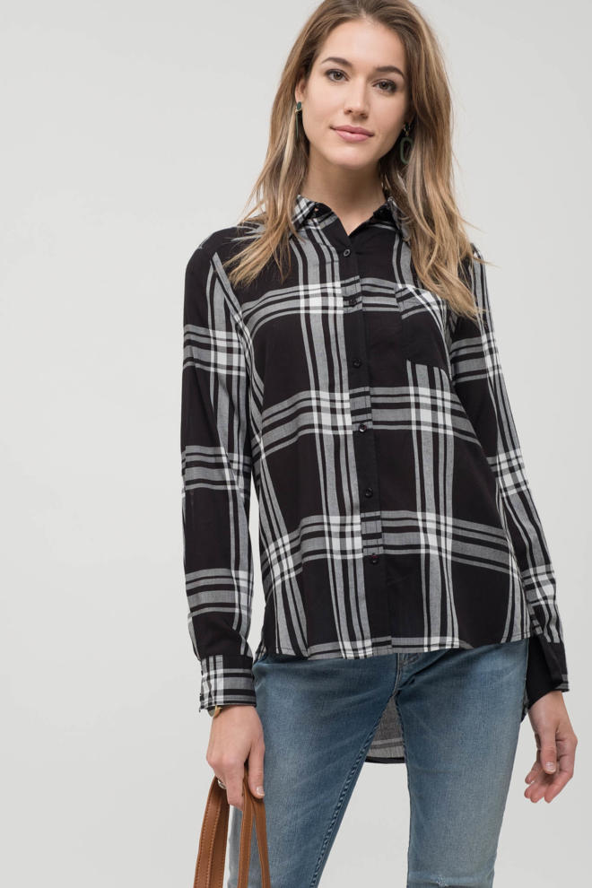 Button Down Plaid Top - Modish Boutique