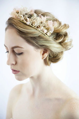Bridal hair wreath - bridal flower crown - flower wreath - flower headband - bridal crown - pink wedding