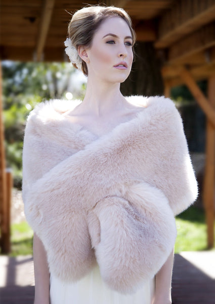 Blush / Beige / Nude / Light Brown Wedding Bridal Faux Fur Stole Wrap Shawl Cape (Lilian Blu01)