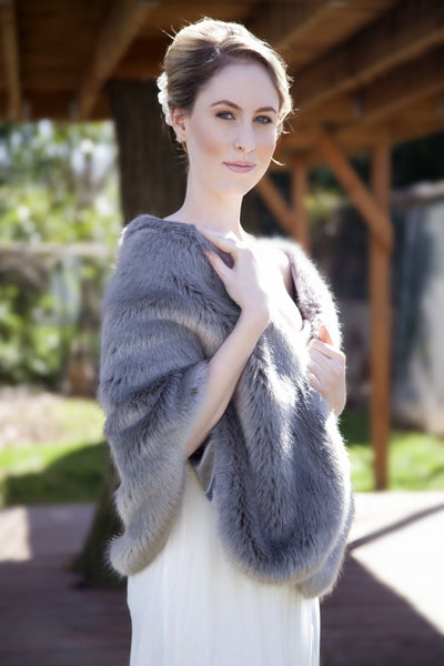 Gray Wedding Bridal Faux Fur Stole Wrap Shawl Cape (Butterly Gry04)