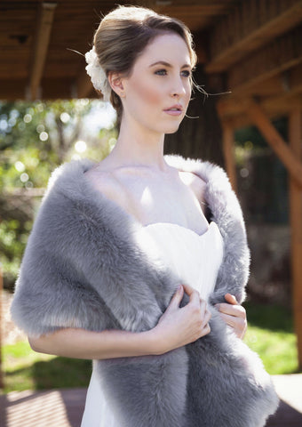 Grey Wedding Bridal Faux Fur Stole Wrap Shawl Cape (Lilian Gry01)