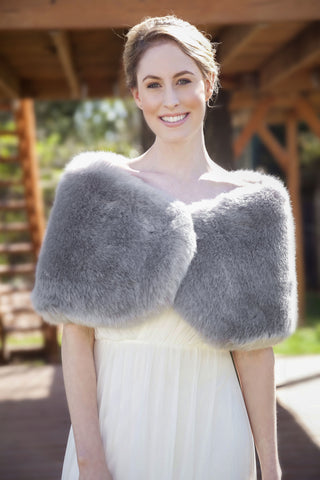 Gray Faux fur bridal wrap shawl stole cape (Serena Gry01)