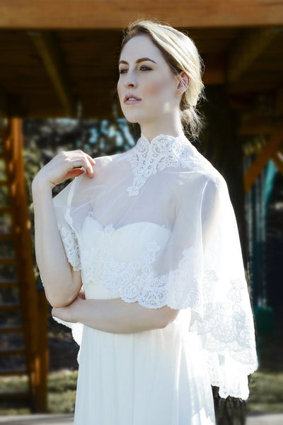 Wedding cover up, boatneck lace top, tulle top, bridal cover up, wedding shawl, wedding shrug, bridal shawl