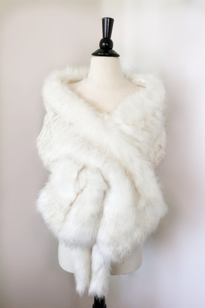 Ivory with Black Wedding Bridal Fur Stole Wrap Shawl Cape (Lilian Wht03)