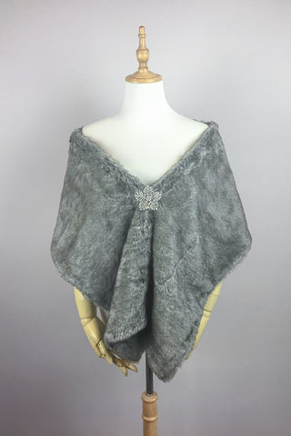 Gray faux fur bridal wrap stole cape