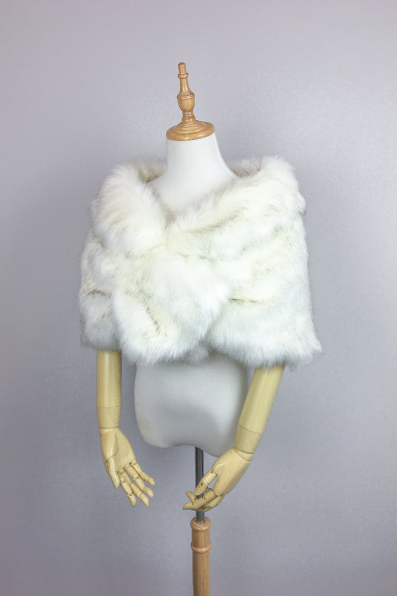 Ivory With Black Fur Wrap (Blair Wht03)