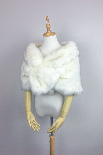 Ivory Wedding Bridal Faux Fur Stole Wrap Shawl Cape (Blair Wht03)