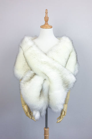 Ivory with Black Wedding Bridal Fur Stole Wrap Shawl Cape (LilianWht03)