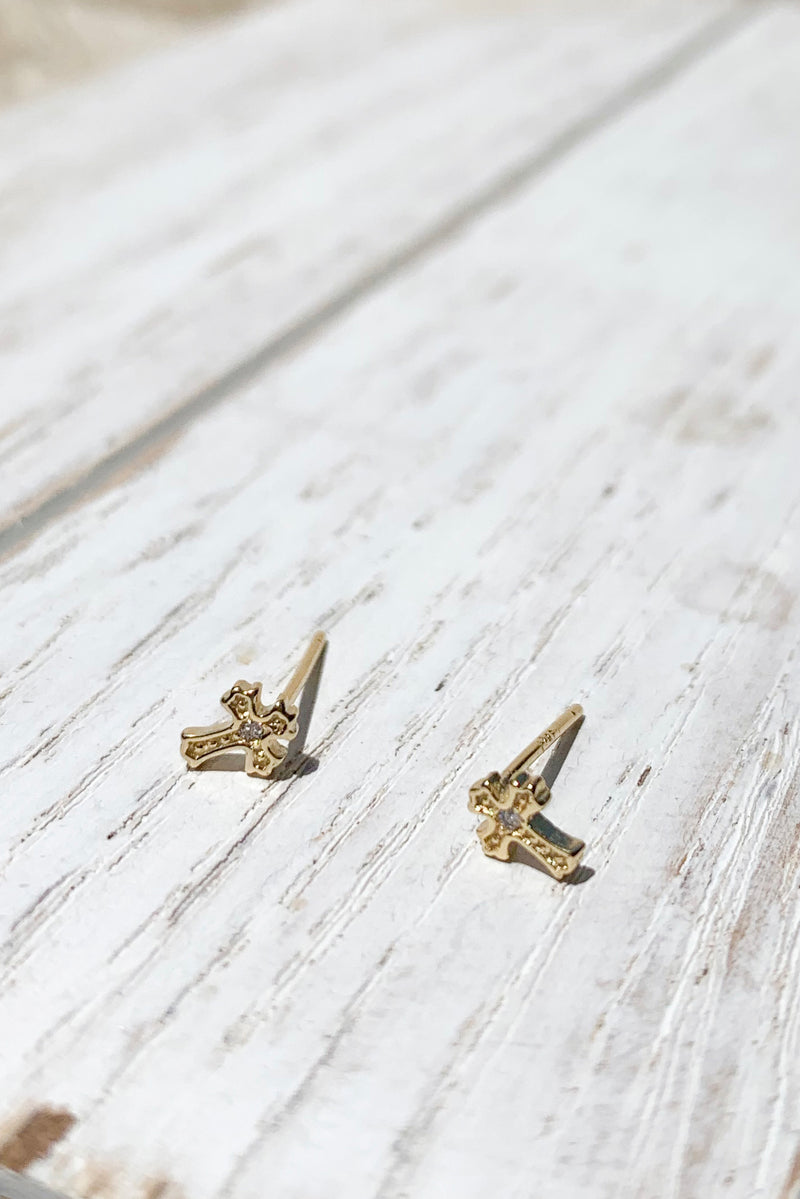 14k gold plated Tiny Cross  Earrings / Bridal Party Gifts