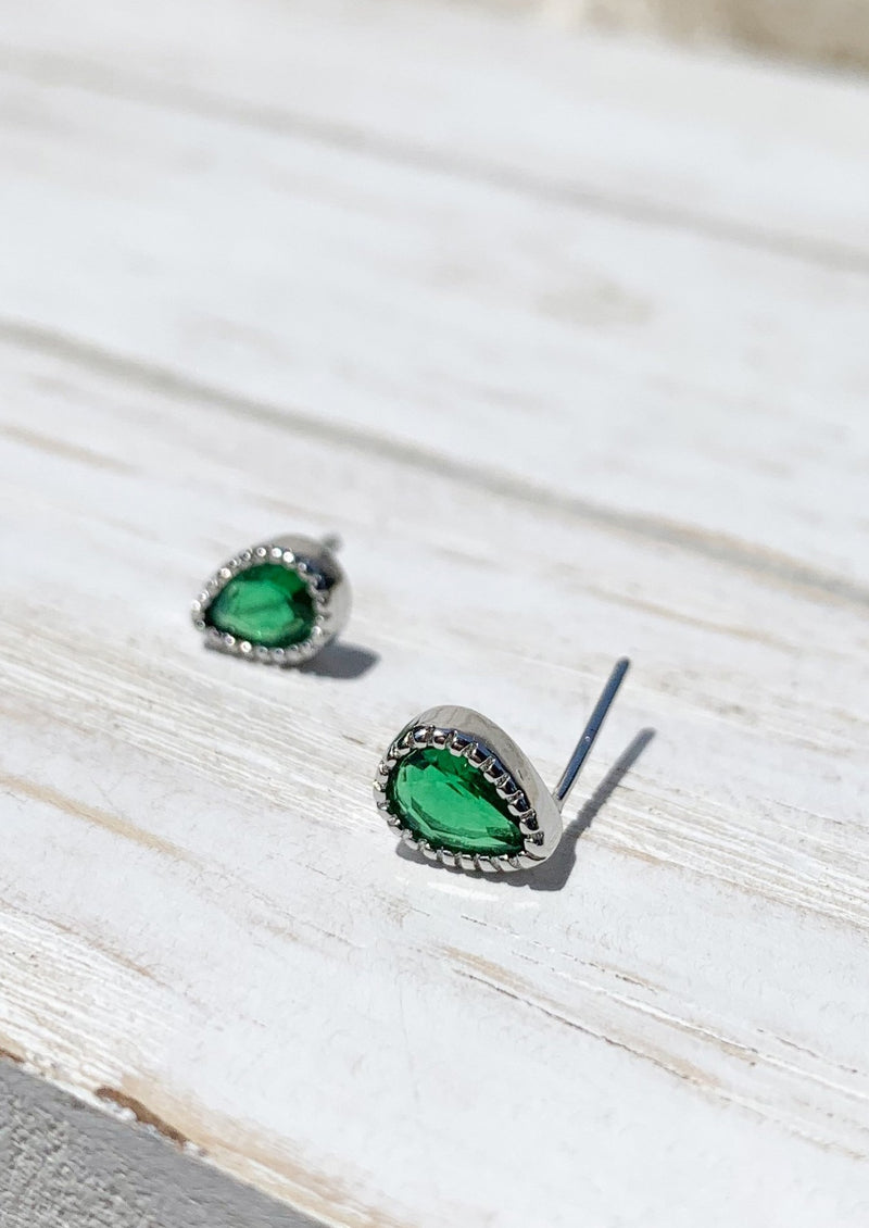 Silver Tiny Green natural stone studs earrings / Bridal Party Gifts