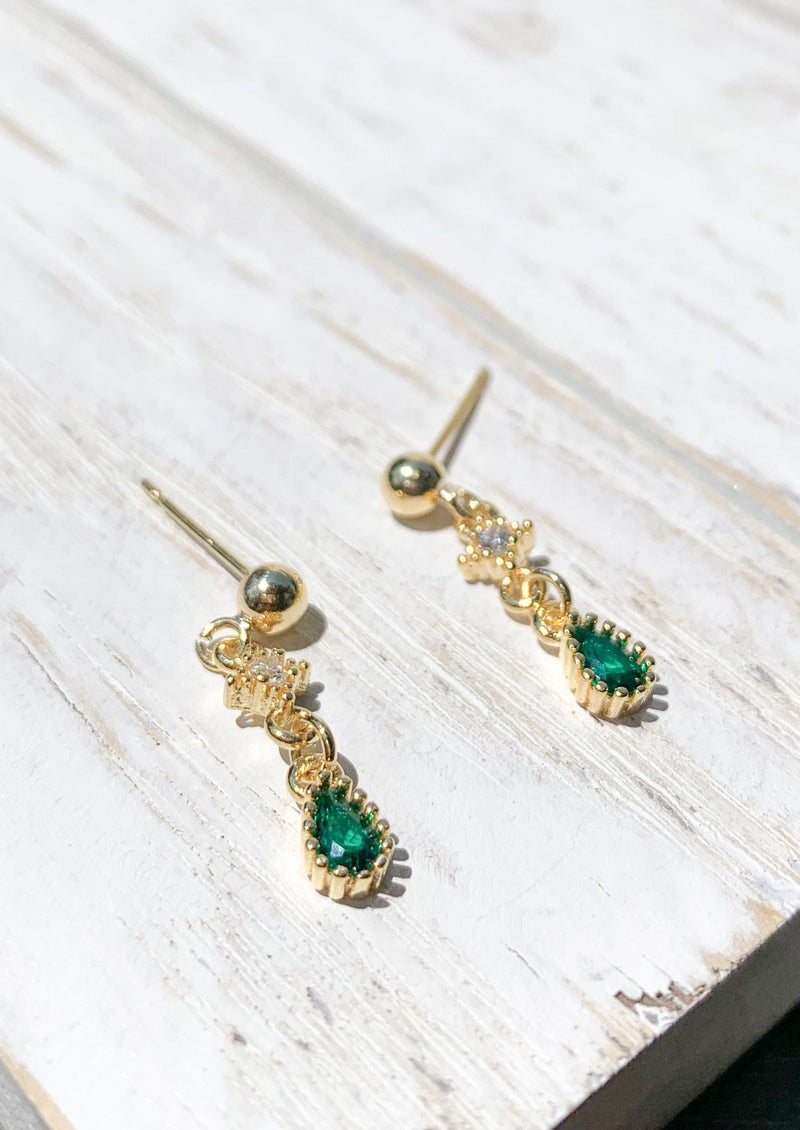 14K Gold Plated Tiny Green natural stone studs earrings / Bridal Party Gifts