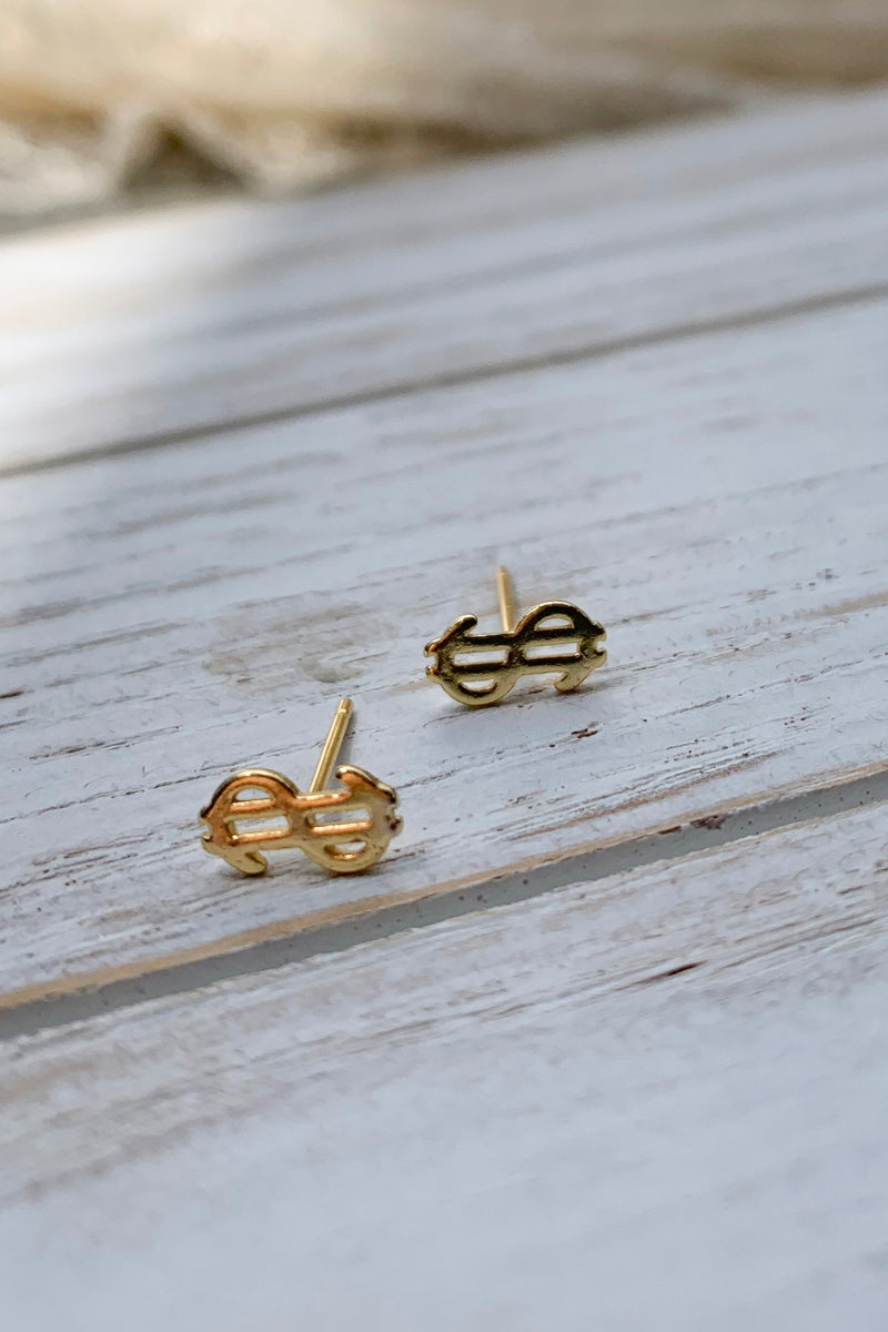 14k gold plated US Dollar Sign Tiny Earrings / Bridal Party Gifts