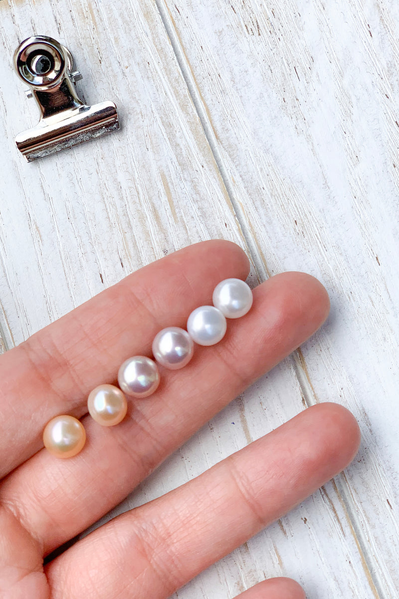 7mm Fresh water pearl studs earrings / Bridal Party Gifts