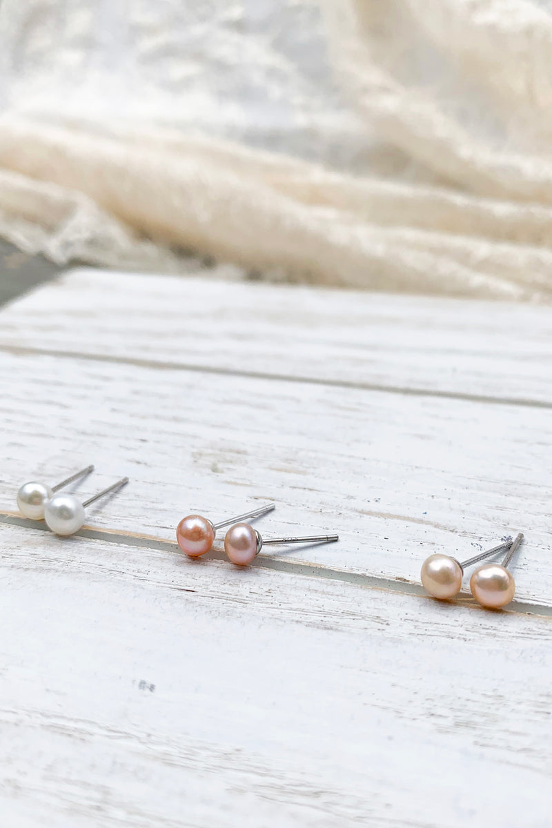 5mm Fresh water pearl studs earrings / Bridal Party Gifts