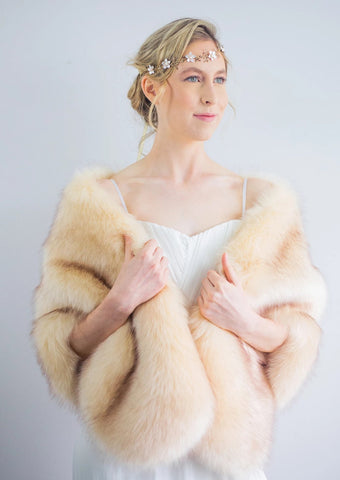 Champagne faux fur bridal wrap shrug shawl (Butterfly Cha03)