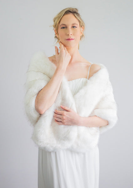 Ivory with Black faux fur bridal wrap shrug stole shawl cape (Butterfly Wht03)