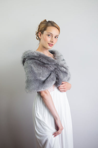 Gray Wedding Bridal Faux Fur Stole Wrap Shawl Cape (Blair Gry04)