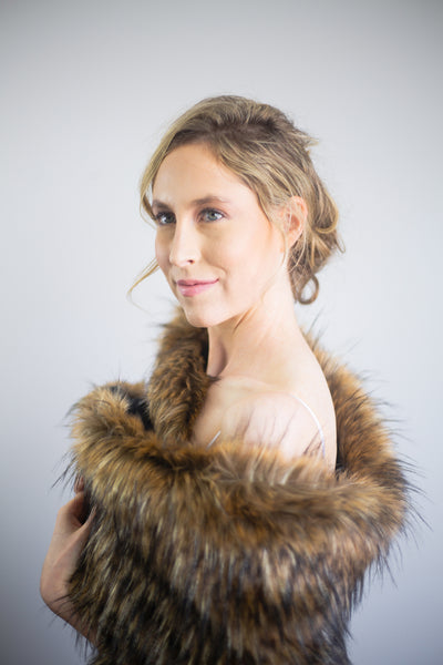 Brown faux fur bridal wrap shrug shawl (Butterfly Brw02)